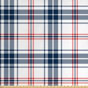Abstract Fabric by The Yard, English Style Tartan Motif Old Fashioned Cultural Striped Display, Decorative Fabric for Upholstery and Home Accents, by Ambesonne