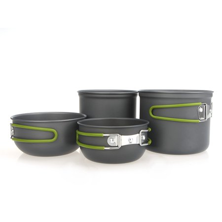 Portable Outdoor Cooking Set Anodised Aluminum Non-stick Pot Bowl Cookware Camping Picnic Hiking
