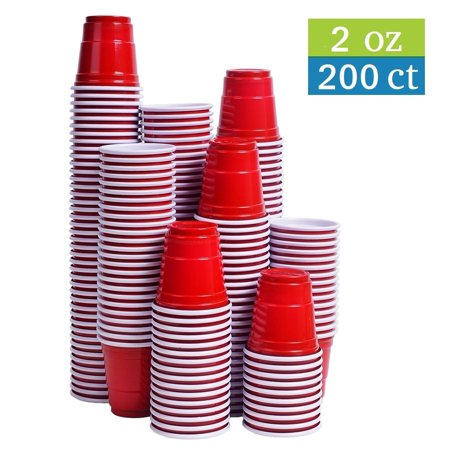 Tashibox Disposable Mini Red Shot Glasses - 2 Ounce - 200 Count - Mini Party Cups, Jager Bomb, Jello Shots, Sample - Jager Bomb Halloween