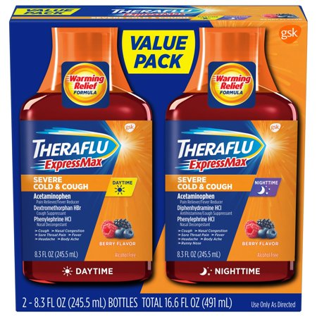 - Theraflu ExpressMax Daytime/Nighttime Severe Cold & Cough Relief Syrups, Berry Flavor, 8.3 oz (Combo Pack)