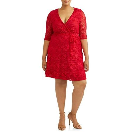 Lame Elbow - Women's Plus Size Elbow Sleeve Lace Bust Dress