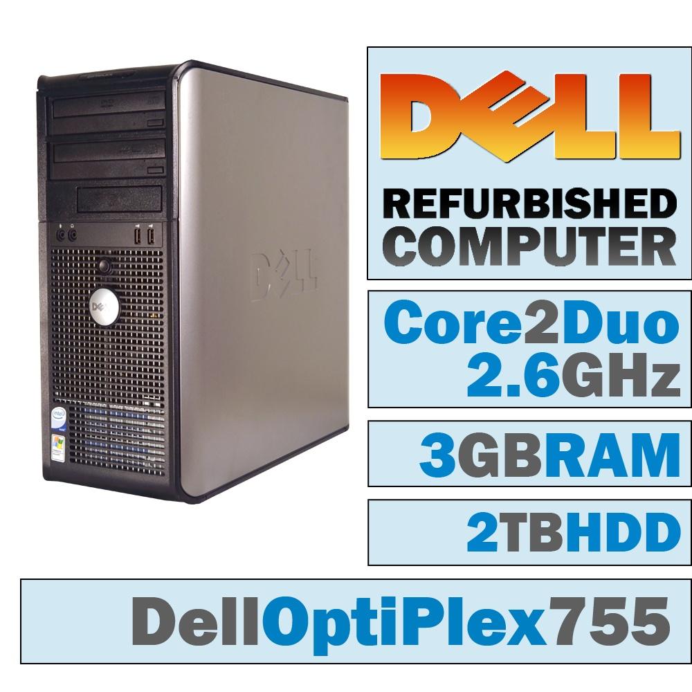 REFURBISHED Dell OptiPlex 755 MT/Core 2 Duo E8200 @ 2.67 GHz/3GB DDR2/2TB HDD/DVD-RW/No OS