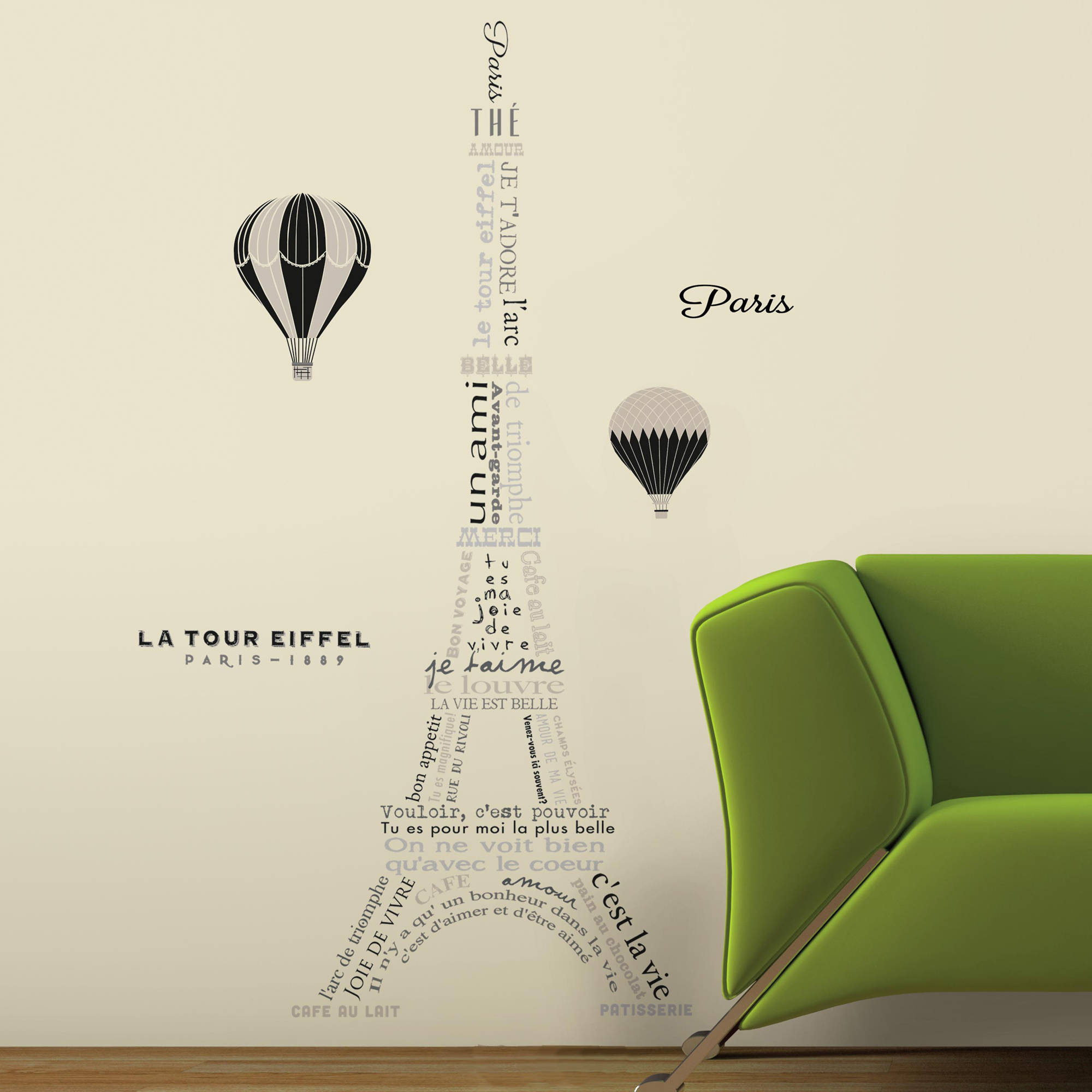 RoomMates Eiffel Tower Neutral Peel and Stick Giant Wall Decals