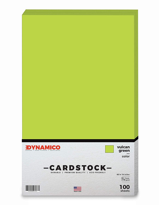 """vulcan green 85 x 14"""" cardstock paper  legalmenu size"""