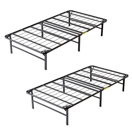 intelliBASE Lightweight Bi-Fold Foldable Platform Metal Bed Frame, Twin (2 (Lightweight Frame)