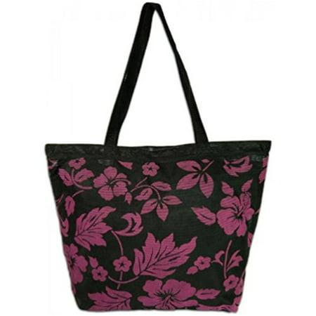 Mesh Beach Tote Bag Hibiscus Black, Fushia - Walmart.com