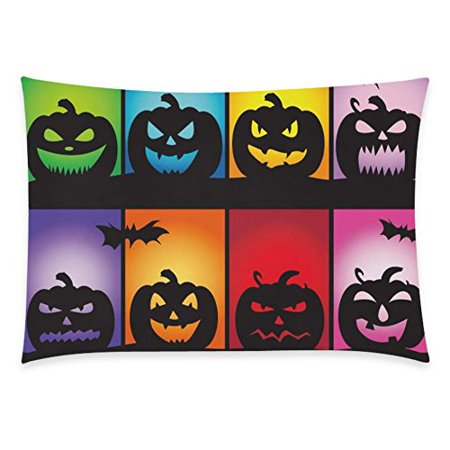ZKGK Cartoon Happy Halloween Pumpkin Home Decor , Moon Night Bat Pillowcase 20 x 30 Inches Two Side,Soft Pillow Cover Case Shams Decorative](Cartoon Halloween Pumpkins)