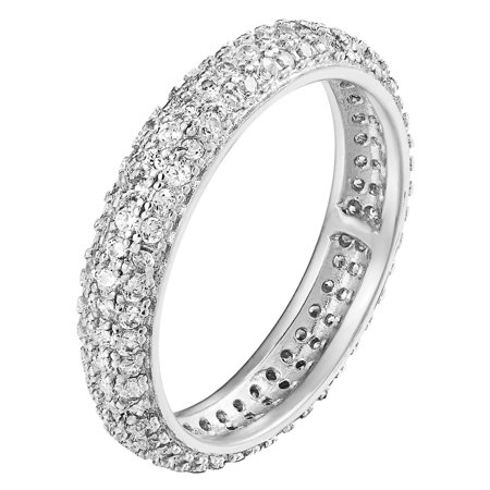 2 Row Prong Set Eternity Engagement Band Wedding Ring 925 Silver Simulated (Eternity Silver Jewelry Set)