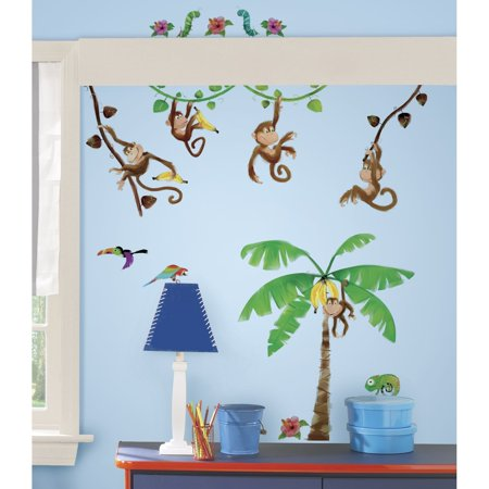(RMK1676SCS Morrow Monkeys Peel & Stick Wall Decals, 41 Elements ranging from 1.75-Inch wide x 1.5-Inch high to 10.5-Inch wide x 4.75-Inch high By RoomMates)