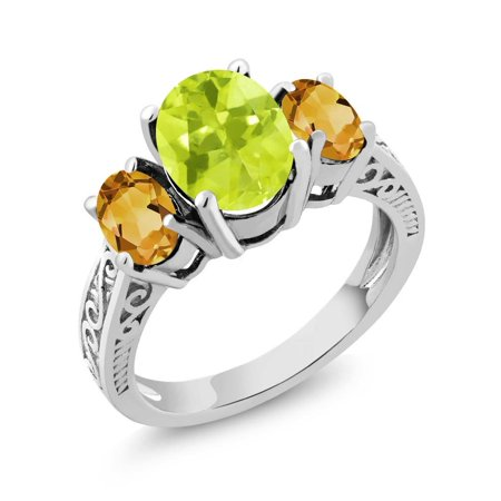 - 2.45 Ct Oval Yellow Lemon Quartz Citrine 925 Sterling Silver 3-Stone Ring