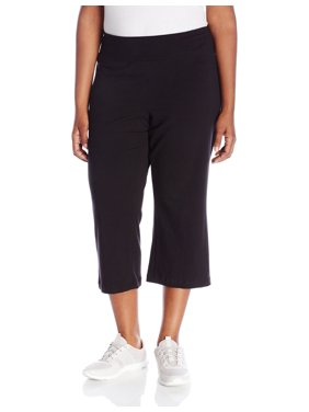 Jockey NEW Black Womens Size 1X Plus Capris Wide Leg Stretch Pants