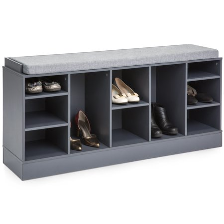 Best Choice Products Multi-Functional Space Saving Organization Storage Shoe Rack Bench for Entryway, Bedroom, Living Room w/ Padded Seat, 10 Cubbies - Gray