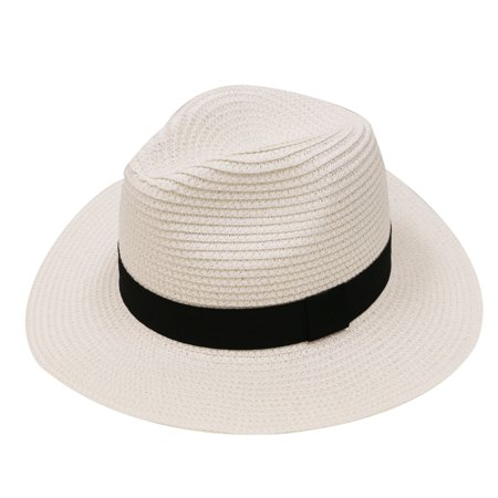 City Hunter Pms580 Women Straw Sun Panama Fedora Hat - White