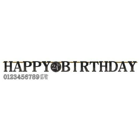 Happy Birthday 'Sparkling Celebration' Customizable Jumbo Letter Banner Kit (1ct) (Customizable Banner)