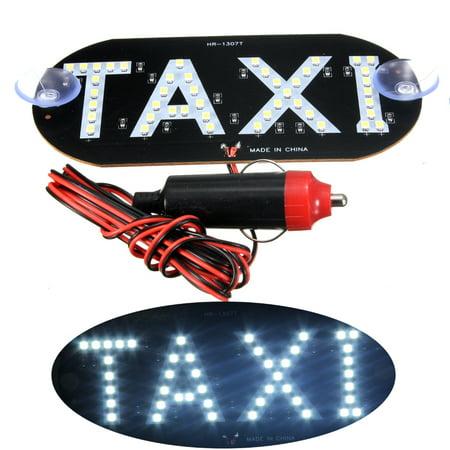 - 12V White Taxi Cab Roof LED Sign Light Inside Windshield Lamp Cigarette Socket