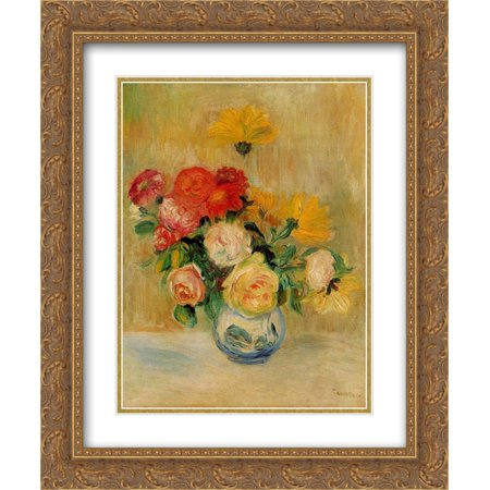- Pierre Auguste Renoir 2x Matted 20x24 Gold Ornate Framed Art Print 'Vase of Roses and Dahlias'