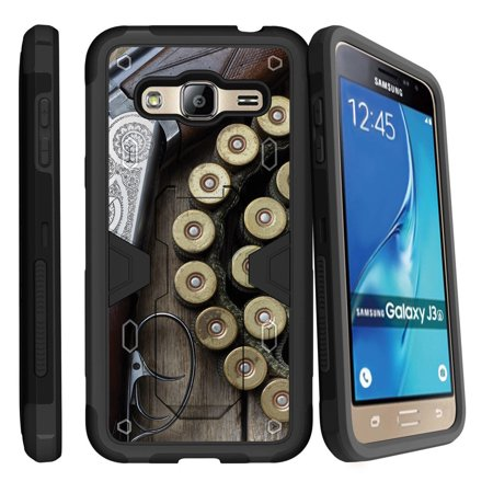Samsung Galaxy J3, Galaxy Sky Dual Layer Shock Resistant MAX DEFENSE Heavy Duty Case with Built In Kickstand - Shotgun with (Best Home Defense Shotgun Ammo)