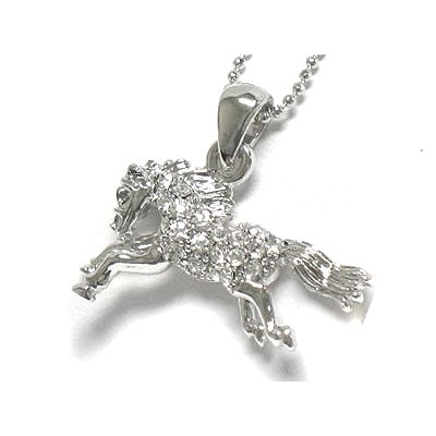 "Horse Crystal Stallion White Gold Plated Pendant Necklace 17"" Snake Chain"