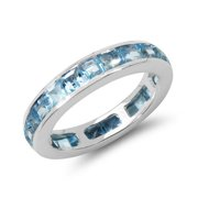 Malaika 4.30 Carat Genuine Blue Topaz .925 Sterling Silver Ring Size-8, Blue
