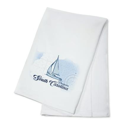 Charleston, South Carolina - Sailboat - Blue - Coastal Icon - Lantern Press Artwork (100% Cotton Kitchen Towel) ()