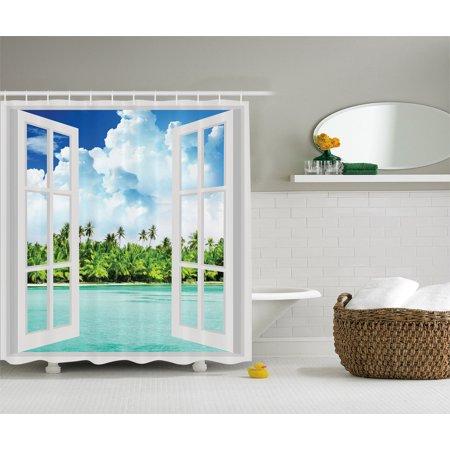 Ocean Decor Palm Tree Tropical Island Beach Paradise Scene
