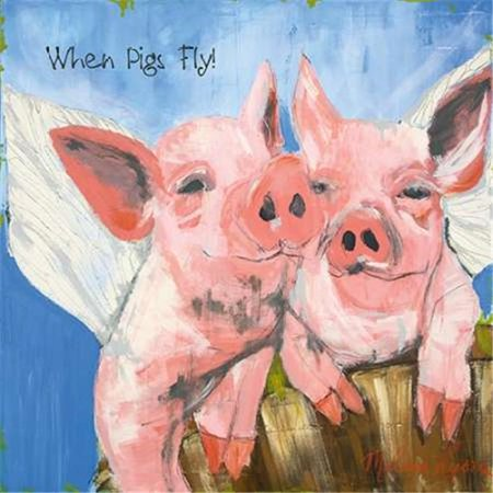 tangletown fine art when pigs fly by melissa lyons poster frame 20