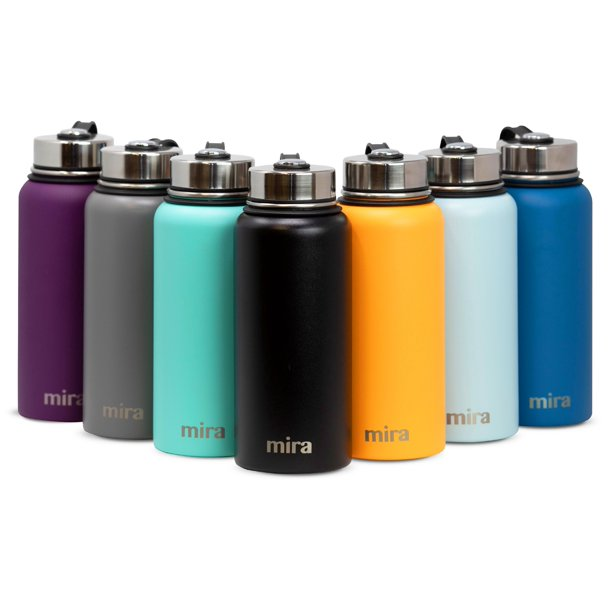 Mira 40 Oz Stainless Steel Vacuum Insulated Wide Mouth Water Bottle Thermos Keeps Cold For 24 Hours Hot For 12 Hours Double Walled Powder Coated Travel Flask Black Walmart Com Walmart Com