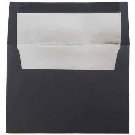 JAM Paper A6 Foil Lined Envelopes, 4 3/4 x 6 1/2, Black Linen with Silver Foil Lining, 50/pack