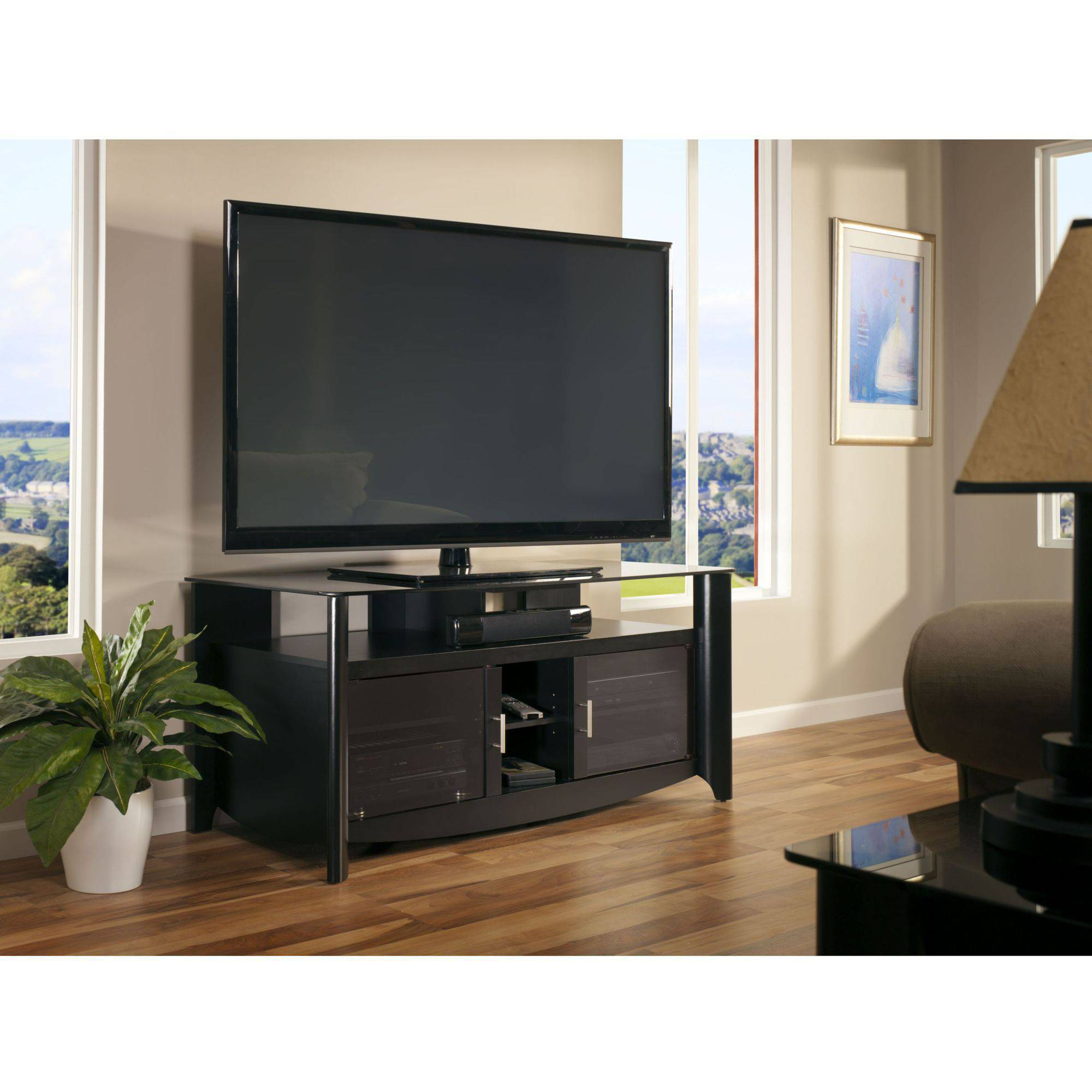 Bush Aero Collection Classic Black Finish Glass Top TV Stand for TVs up to 60""