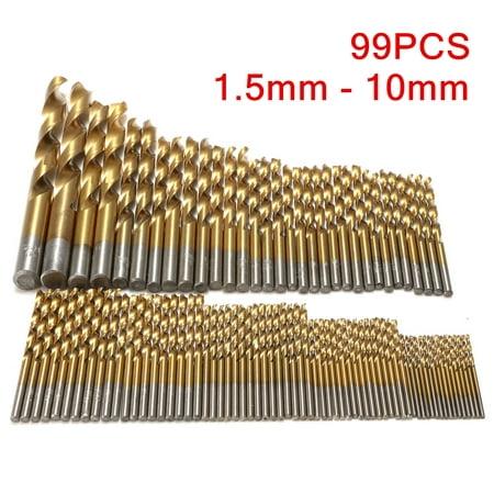 New  VADIV 99pcs Titanium Coated Metal HSS High Speed Steel Drill Bit Set Tool 1.5mm -