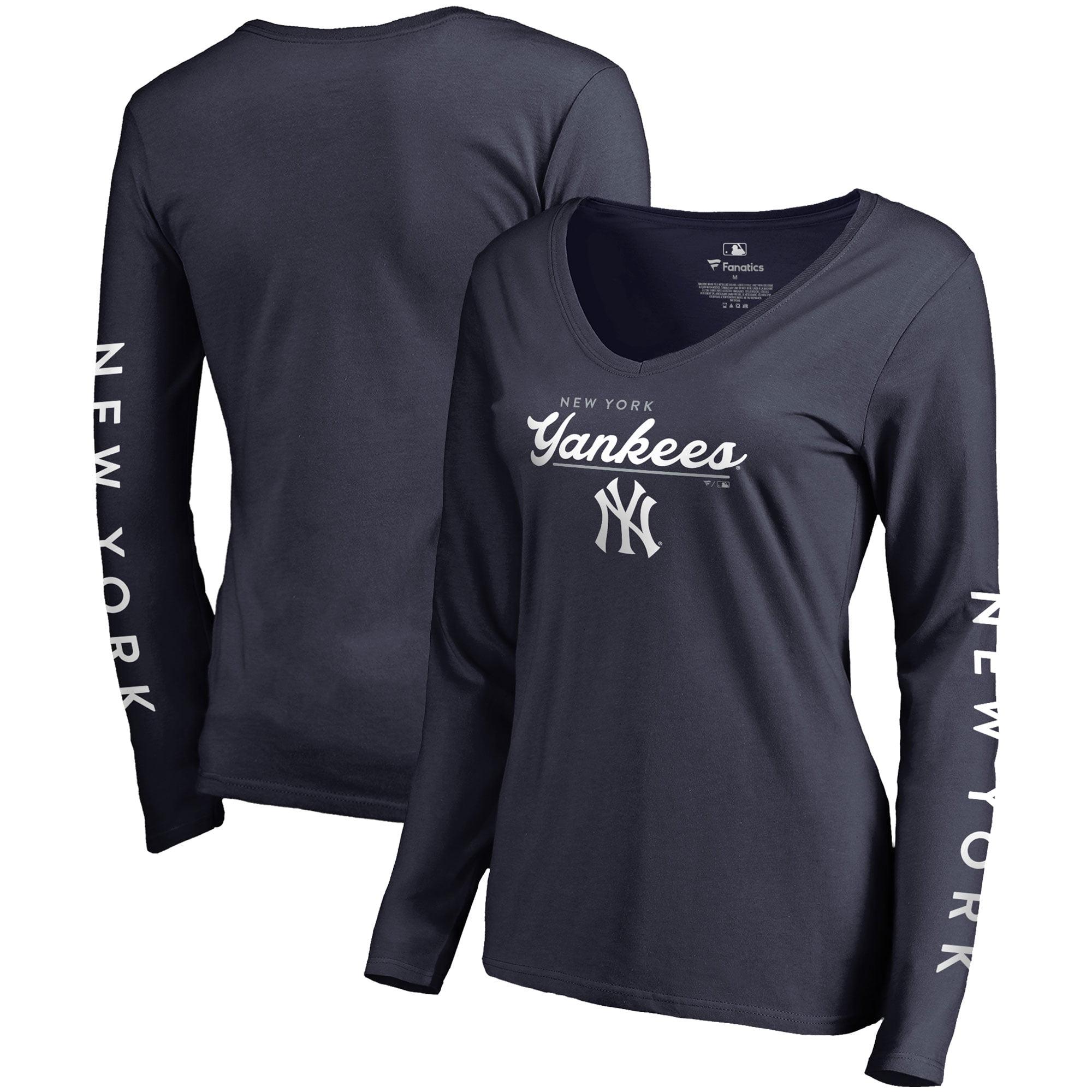 New York Yankees Fanatics Branded Women's High Class Long Sleeve V-Neck T-Shirt Navy by BOX SEAT CLOTHING CO.
