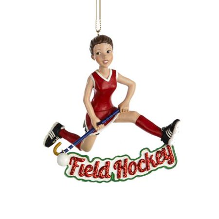 club pack of 12 girl with red glittered field hockey christmas ornaments 35