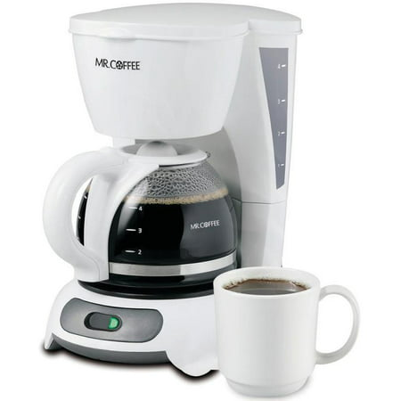 Mr. Coffee Simple Brew 4-Cup Switch Coffee Maker, White TF4 (White Handle Coffee Pot)