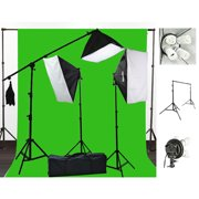 2400 Watt Photography Studio Video Light Lighting 10x20 Green Screen Background