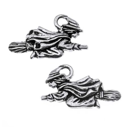 Antiqued Silver Lead-Free Charm - Witch Flying On Broom Halloween 19mm (2)