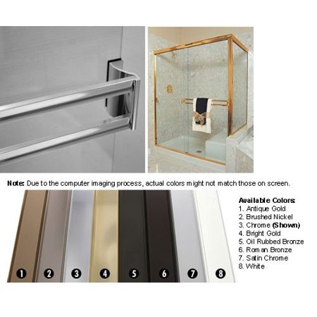 Chrome Sliding Frameless Shower Door Double Towel Bar Kit - 30