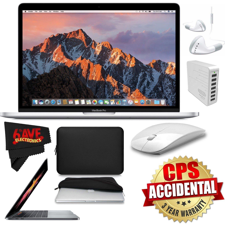 "6Ave Apple 13.3"" MacBook Pro Silver 512GB SSD + Padded Case For Macbook + 2.4 GHz Slim Optical Wireless Bluetooth + 7 Port USB Hub (White) Bundle"
