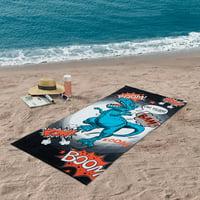 Mainstays Quick-Dry Cotton Multi-Color Beach Towel, Dinosaur