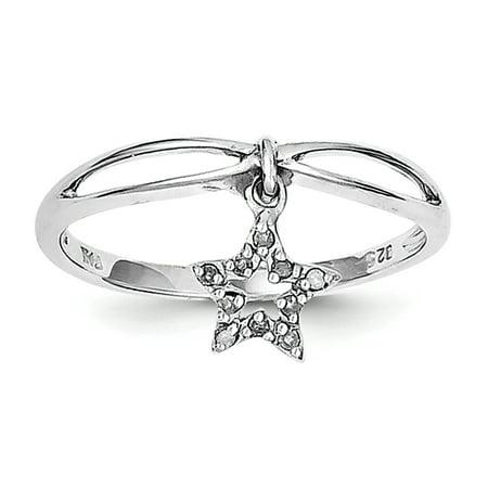 Sterling Silver Rhodium Plated Diamond Star Dangle Ring