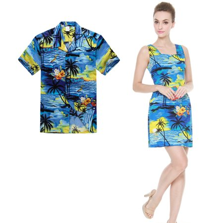 Couple Matching Hawaiian Luau Outfit Aloha Shirt Tank Dress in Sunset Blue Men S Women 2XL - Homecoming Couples Outfits