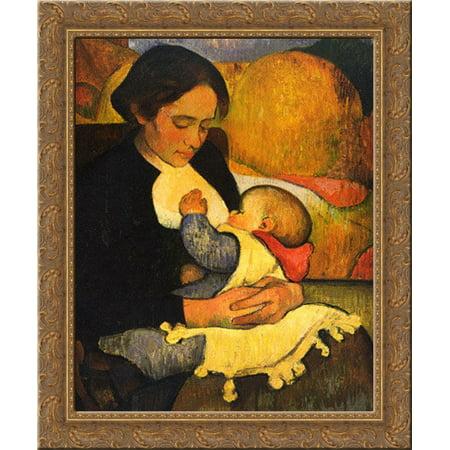 - Maternity Mary Henry Breastfeeding 24x20 Gold Ornate Wood Framed Canvas Art by Meijer de Haan