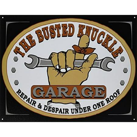 """Busted Knuckle Garage BKG-21 12"""" X 16"""" Rectangular BKG Tin Shop Sign"""