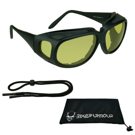 Motorcycle Fit Over RX glasses Yellow Lenses with Side (Cool Motorcycle Glasses)