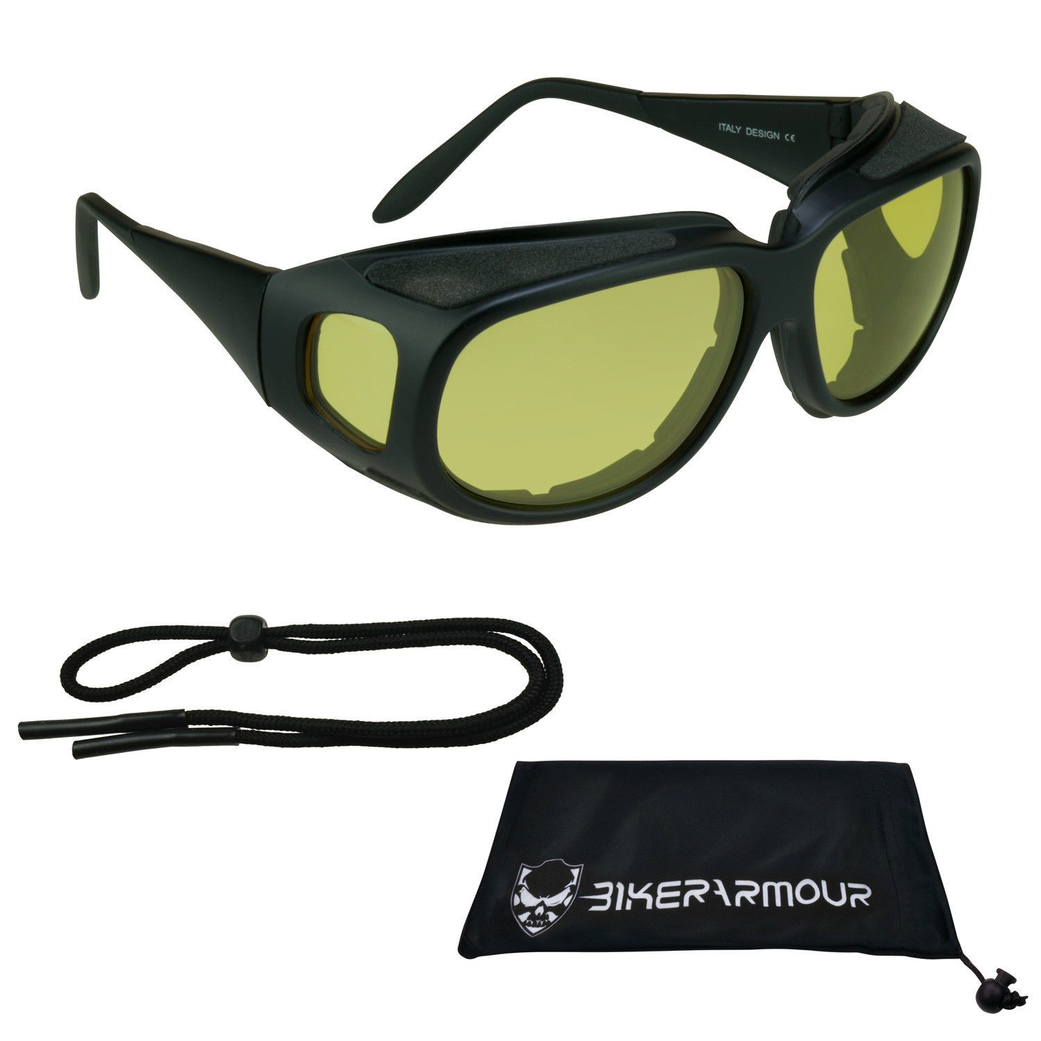 Motorcycle Fit Over RX glasses Yellow Lenses with Side Shields