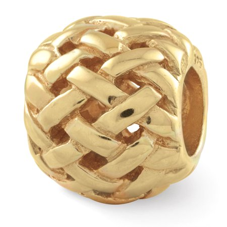 925 Sterling Silver Gold Plated Charm For Bracelet Basketweave Bali Bead Gifts For Women For Her