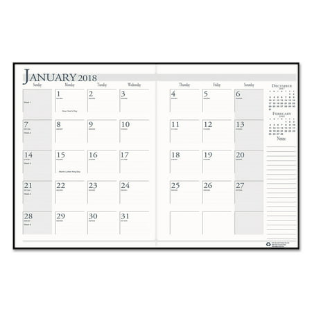 House of Doolittle Recycled Ruled Planner with Stitched Leatherette Cover, 8.5x11, Black, 2017-2019 (Doolittle Compact)