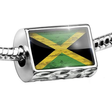 Bead Flag on Wood Jamaica Charm Fits All European Bracelets