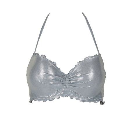 Sundazed Silver Metallic Nixie Underwire Bra-Sized Halter Bikini Top 36D - Metallic Bra Top