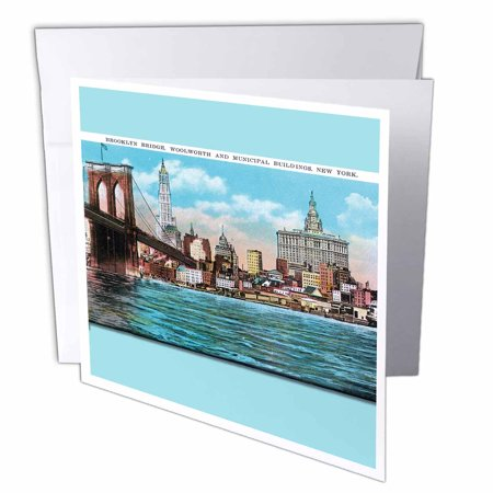 New York City Christmas Card - 3dRose Brooklyn Bridge Woodworth and Municipal Buildings New York City, Greeting Cards, 6 x 6 inches, set of 12