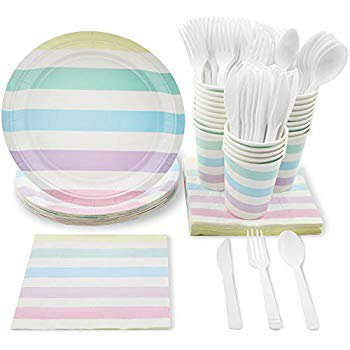 Girl Baby Shower Plates And Napkins (Pastel Stripes Party Supplies for Birthday, Baby Shower, and Girls Parties - Plates, Knives, Spoons, Forks, Napkins, and Cups, Serves)